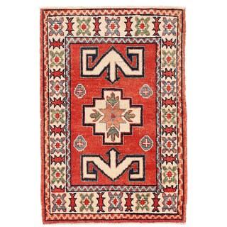 Herat Oriental Afghan Hand-knotted Kazak Wool Rug (1'10 x 2'10)