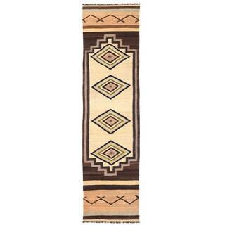 Handmade Herat Oriental Afghan Mimana Wool Kilim Runner - 3'4 x 13'3 (Afghanistan)
