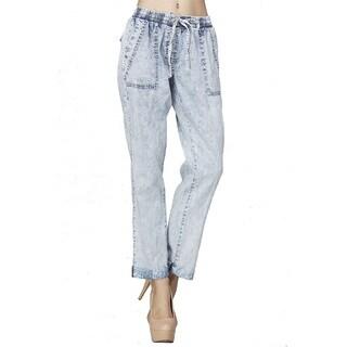JED Women's Blue Cotton Elastic Waist Capri Ankle Length Acid-washed Denim Jeans