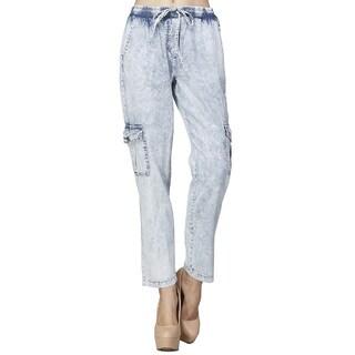 JED Women's Blue Cotton Elastic Waist Capri Ankle Length Cargo Denim Pants