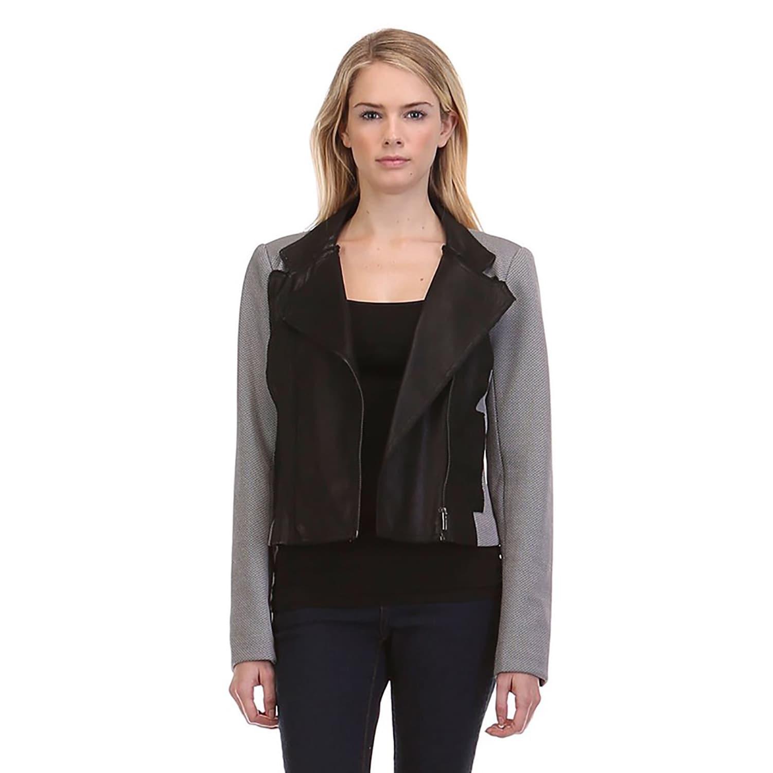 JED Women's Grey Polyester/Spandex Casual Moto Blazer Bik...