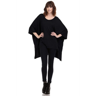 JED Women's Batwing Red/Black/Beige Rayon/Spandex Loose Fit Kimono Cape Tunic Top
