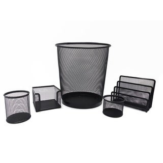 Black Metal Mesh 5-piece Desk Set