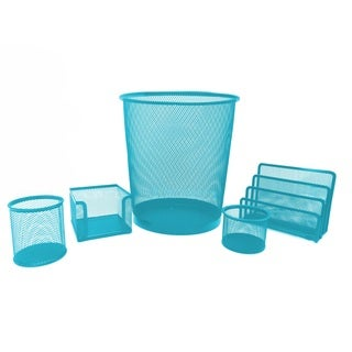 Turquoise Metal Mesh 5-piece Desk Organizer Set