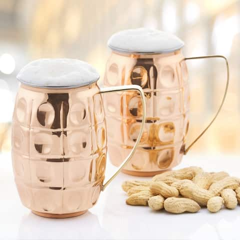 2-Ply Solid Copper/Stainless Steel 24-ounce 'Grenada' Moscow Mule Mug (2-Piece Set)