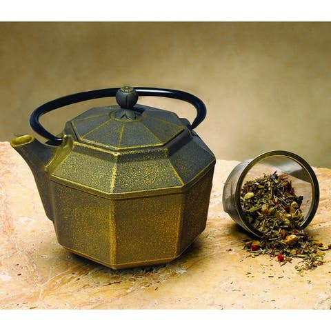 Old Dutch Black and Gold Cast Iron 30-ounce Pagoda Teapot