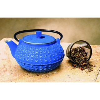 Old Dutch Unity Yorokobi Blue and Silver Cast Iron 30-ounce Teapot