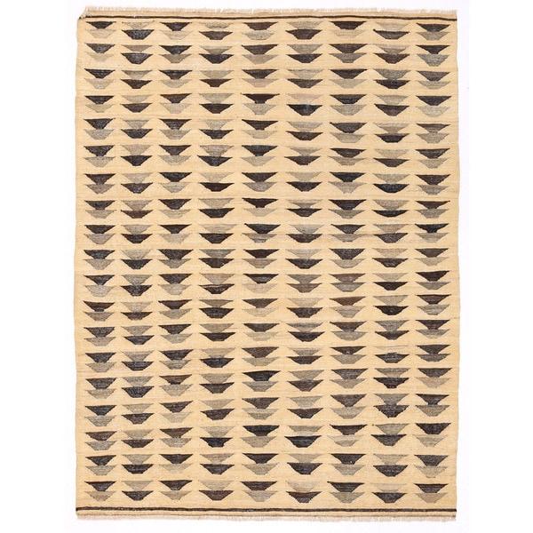 Handmade Herat Oriental Afghan Mimana Wool Kilim (Afghanistan) - 4'2 x 5'6