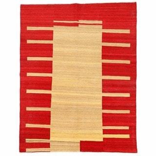 Herat Oriental Afghan Hand-woven Mimana Wool Kilim (4'11 x 6'4)