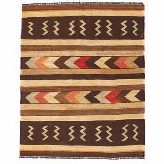 Herat Oriental Afghan Hand-woven Mimana Wool Kilim (4'11 x 5'11)