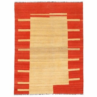 Herat Oriental Afghan Hand-woven Mimana Wool Kilim (4'11 x 6'7)