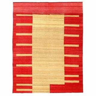 Herat Oriental Afghan Hand-woven Mimana Wool Kilim (5' x 6'7)