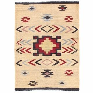Herat Oriental Afghan Hand-woven Mimana Wool Kilim (5'2 x 7')
