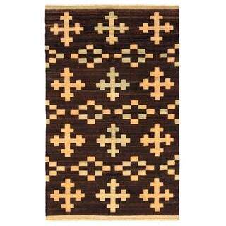 Herat Oriental Afghan Hand-woven Mimana Wool Kilim (5'5 x 8'7)