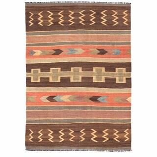 Herat Oriental Afghan Hand-woven Mimana Wool Kilim (5'7 x 7'7)