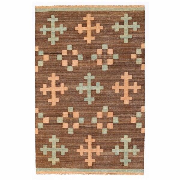 Herat Oriental Afghan Hand-woven Mimana Wool Kilim - 5'1 x 7'11