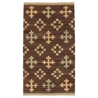 Herat Oriental Afghan Hand-woven Mimana Wool Kilim (5'6 x 9'11)