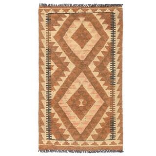 Herat Oriental Afghan Hand-woven Mimana Wool Kilim (1'11 x 3'3)