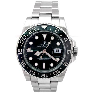 Rolex Men's Black, Silver Ceramic, Stainless Steel Pre-owned GMT-Master II Watch