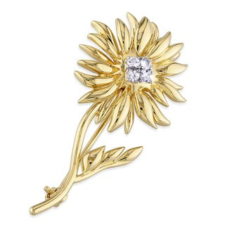 V1969 Italia White Sapphire Logo Flower Brooch In Yellow Gold Plated Sterling Silver