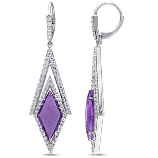 V1969 ITALIA White Sapphire and Amethyst Prism Drop Earrings in Sterling Silver