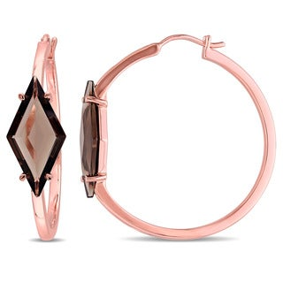 V1969 ITALIA Smokey Quartz Prism Hoop Earrings in 18k Rose Gold Plated Sterling Silver