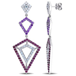 V1969 ITALIA Blue Topaz Amethyst and Rhodolite Openwork Drop Earrings in Sterling Silver