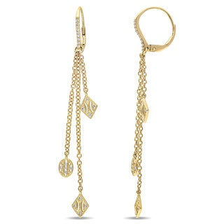 V1969 ITALIA 1/5ct TDW Diamond Tapestry Drop Earrings in 14k Yellow Gold (G-H, SI1-SI2)