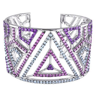 V1969 ITALIA Blue Topaz Amethyst and Rhodolite Openwork Bangle Bracelet in Sterling Silver