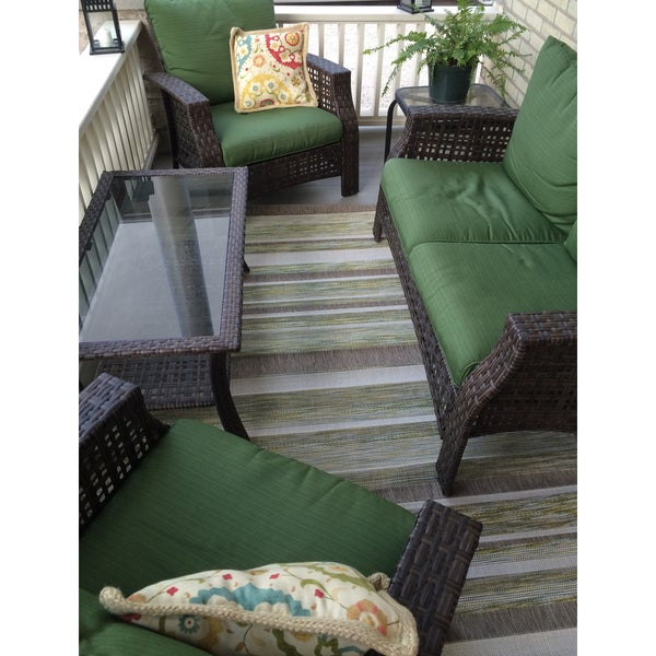 Terrain Green/Brown/Beige Synthetic Stripes Flatweave Rug (2'8 x 4'11) - 2'8 x 4'11