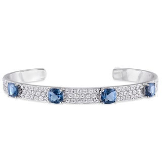 V1969 ITALIA Blue Topaz and White Sapphire Bangle Bracelet in Sterling Silver