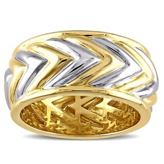 V1969 ITALIA Men's Zig Zag Ring in 18k Yellow Gold Plated Sterling Silver