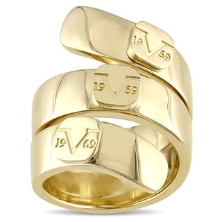 V1969 Italia Logo Mark Ring In Yellow Gold Plated Sterling Silver