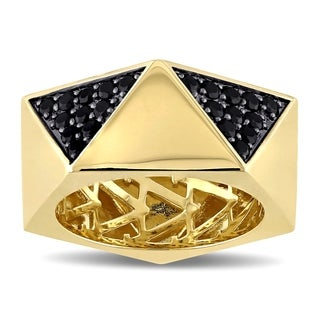 V1969 Italia Men'S Black Sapphire Openwork Ring In Yellow Gold Plated Sterling Silver