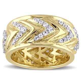 V1969 ITALIA Men's White Sapphire Zig Zag Ring in 18k Yellow Gold Plated Sterling Silver