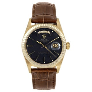 Rolex Men's Yellow Gold Pre-owned Day-date Model with a Black Stick Dial and Fluted Bezel