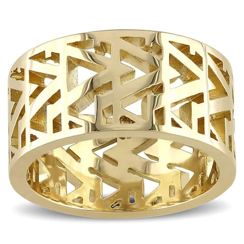 Miadora Openwork Ring In Yellow Plated Sterling Silver