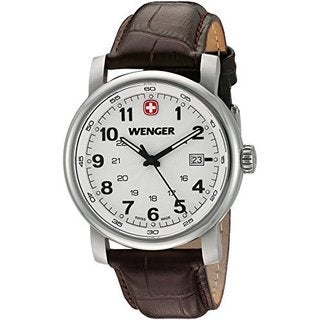 Wenger Men's Brown Leather Urban Classic Swiss Quartz Watch