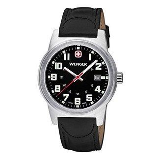 Wenger Men's Field Classic Swiss Quartz Black Leather Watch
