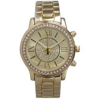 Olivia Pratt Women's Roman Numeral Rhinestone Accent Bracelet Watch