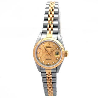 Pre-owned Rolex 26 millimeter Champagne Dial Datejust Two-tone Watch
