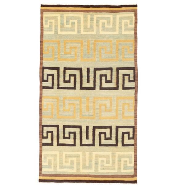 Herat Oriental Afghan Hand-woven Mimana Wool Kilim (5'3 x 9'10)