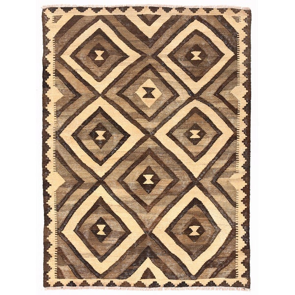 Herat Oriental Afghan Hand-woven Mimana Wool Kilim (3'4 x 4'7)
