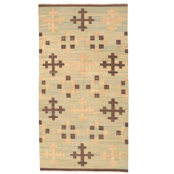 Herat Oriental Afghan Hand-woven Mimana Wool Kilim (5'1 x 9'8)