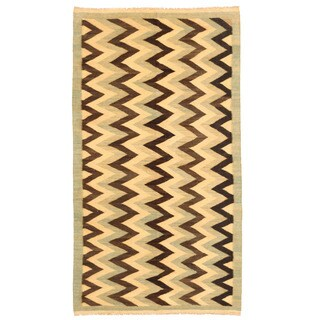 Herat Oriental Afghan Hand-woven Mimana Wool Kilim (5'3 x 9'8)