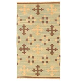 Herat Oriental Afghan Hand-woven Mimana Wool Kilim (5'4 x 9'7)