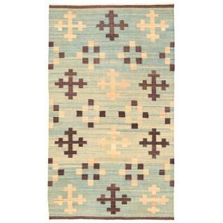 Herat Oriental Afghan Hand-woven Mimana Wool Kilim (5'8 x 9'11)