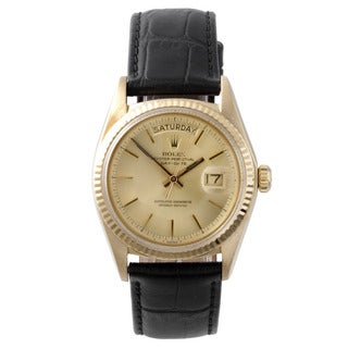 Pre-Owned Rolex Men's Day-Date Yellow Gold Champagne Stick Dial Fluted Bezel Watch