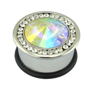 Supreme Jewelry and Accessories Silver Steel Cubic Zirconia Plugs with O Ring