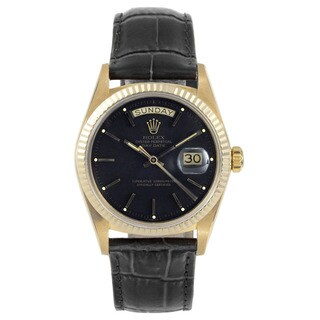 Rolex Men's 18k Yellow Gold and Black Leather Pre-owned Day-date Model Watch